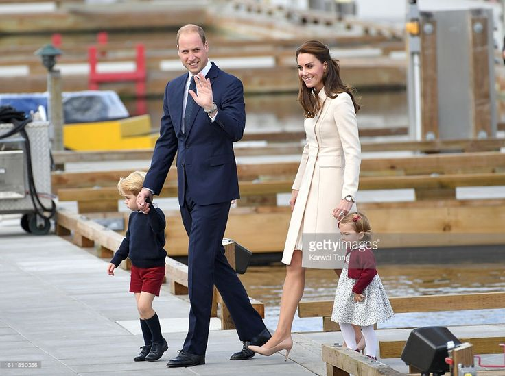 Catherine Duchess of Cambridge Prince William Duke of Cambridge Prince  George and Princess Charlotte depart Victoria after the Royal Tour of  Canada.