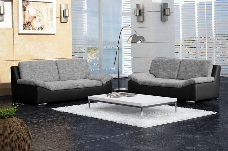 Ensemble canapé 3+2 design en simili cuir noir et tissu gris