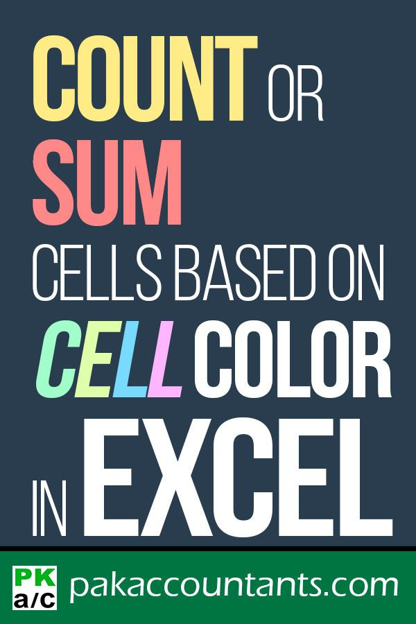 Count + Sum Cells based on Cell Colour in Excel - How To | Learn