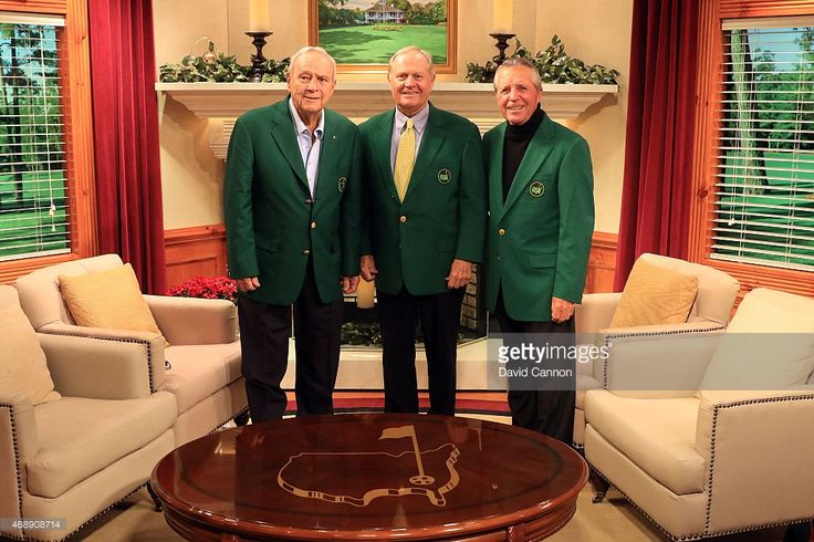 Former Masters champions Arnold Palmer, Jack Nicklaus and Gary Player of South Africa pose together on the Golf Channel set prior to the start of the 2015 Masters Tournament at Augusta National Golf Club on April 8, 2015 in Augusta, Georgia.
