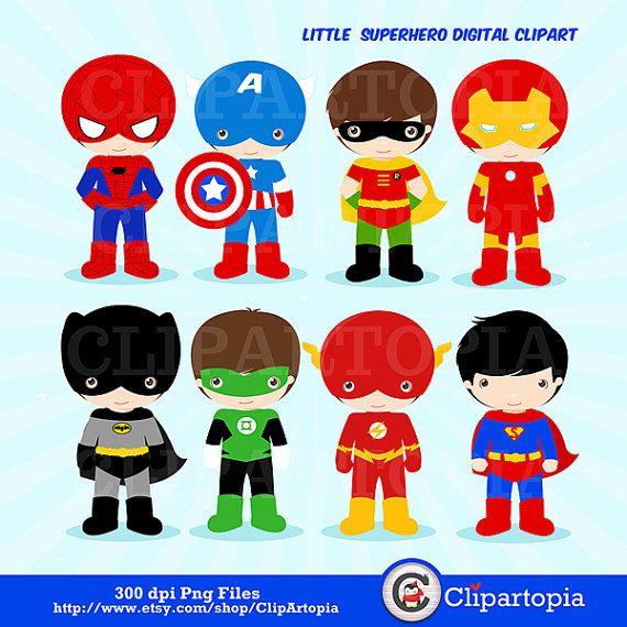 Little Superhero digital clipart / Superboys clipart / Superhero Clip art/ Super hero Clipart / Instant download