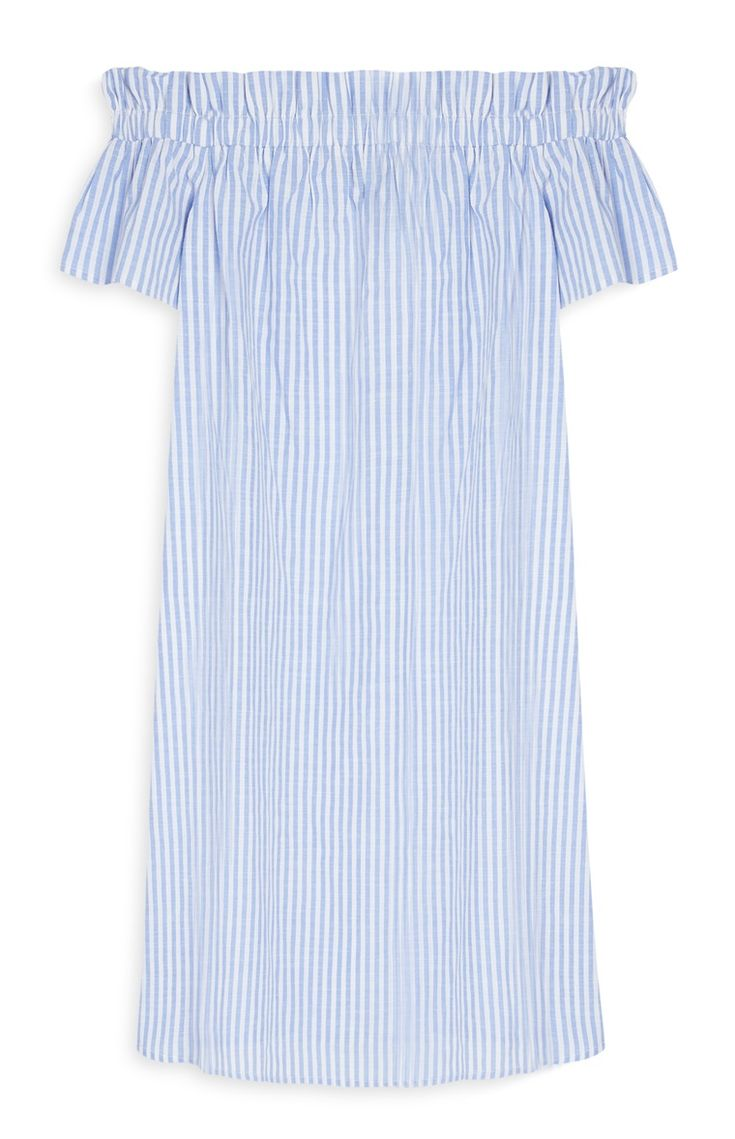 Primark london fashion week day in the life primark womenswear - Primark Blue Striped Off The Shoulder Dress Primark Clothesshoulder Dressthe Shoulderfashion
