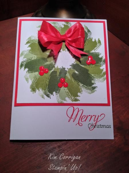 Stampin' Up! ... handmade Christmas card: Brushstroke Wreath by kimbee1556 - ... artistic look with Work of Art brushstrokes in three greens ... trios of red berries and triple loop satin bow ... great layout too ...