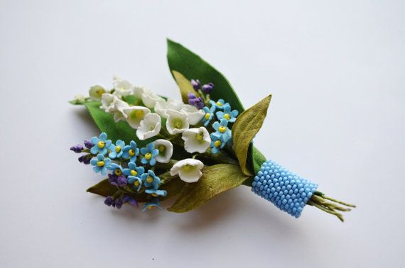 White and Blue Spring Flower Brooch, Lilies of the Valley and Forget-me-not Brooch, Groom's Boutonniere, Bridal Brooch, Wedding Brooch