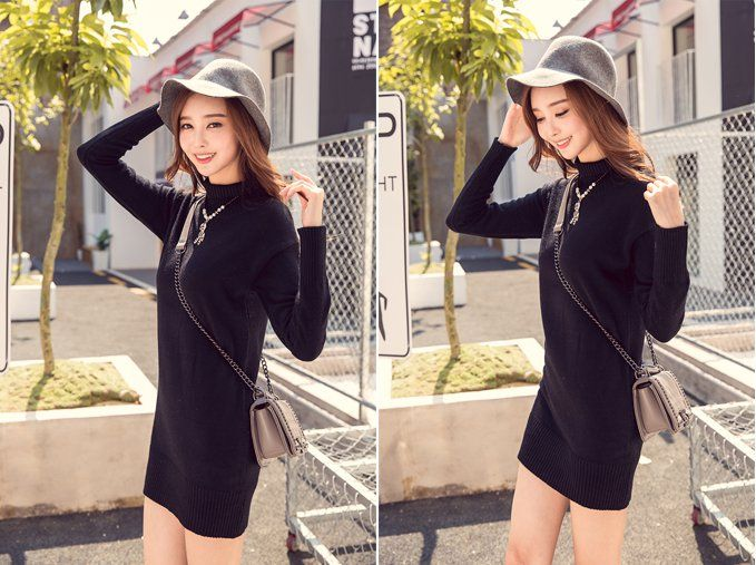 CW57811 Split knitted sweater autumn and winter shirts