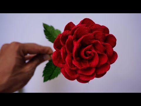 How to make Roses - Handmade Crepe Paper Rose (Easy Roses Paper Flowers) - YouTube