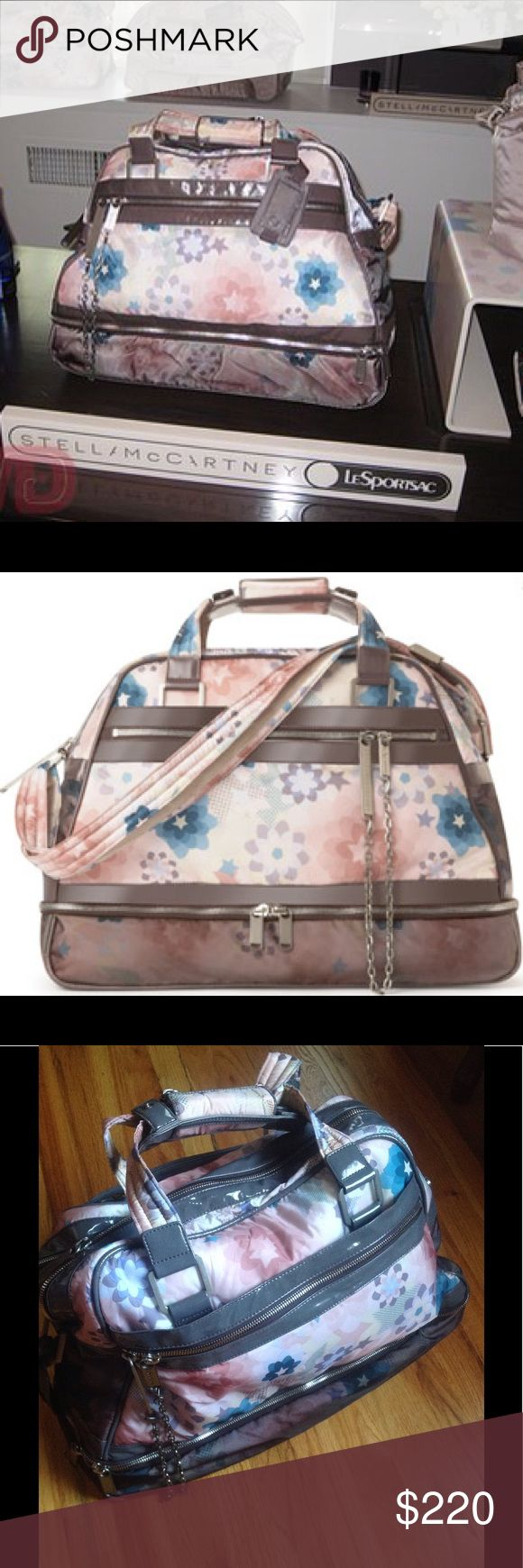 """STELLA MC CARTNEY  Collaboration with Le Sportsac NEW NO Tag attached., The large bow lining bag , the soft modern florals., the pink the abstract print it looks chic and fresh perfect for design lovers !. Missing cosmetic pouch see last picture.,  just to big for me  19 1/2""""L X 15""""H X 6 1/2""""W 🚫NO TRADES🚫REASONABLE OFFERS WELCOME 🚫NO LOWBALLING Stella McCartney Bags Travel Bags"""