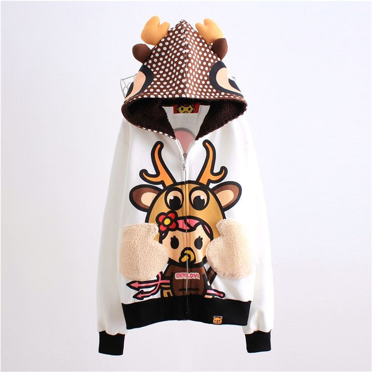 Cute dot deer fleece hoodie