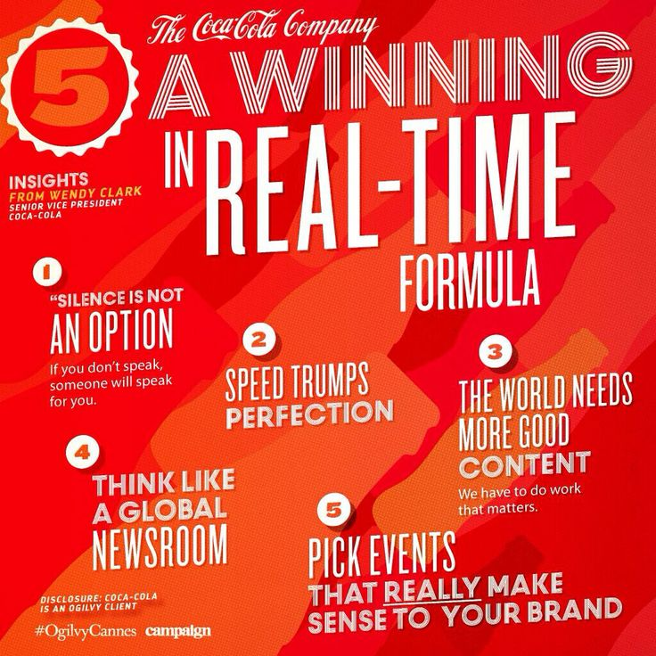 Coca Cola 5 steps to winning real time marketing (from Canneslions)