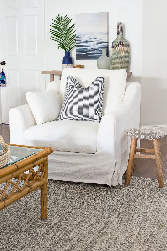 Ikea Chairs The Perfect Pair Of Coastal Chic Chairs In 2020 Slipcovers For Chairs Ikea Living Room Ikea Chair