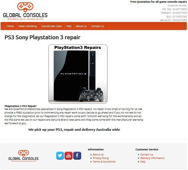 PlayStation 3 PS3 repair center Australia wide PS3 repairs