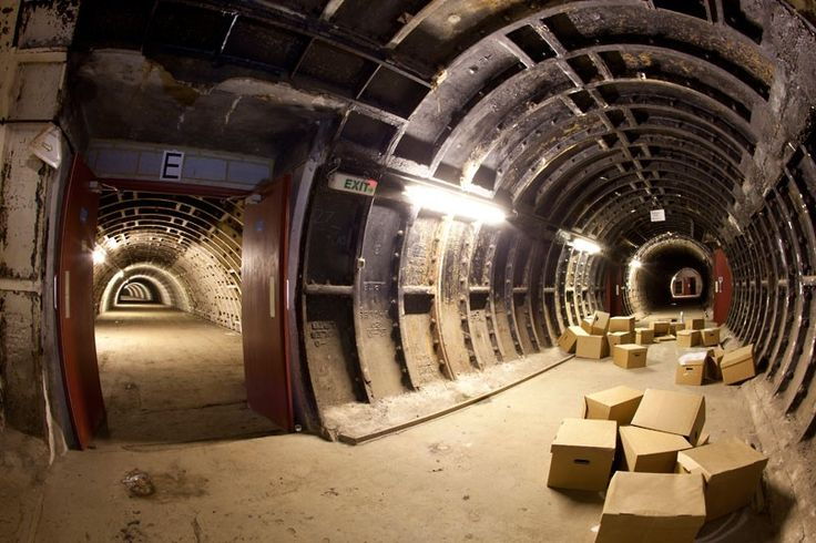 A tunnel used for storage under Clapham North Underground station in London by Steve Duncan..