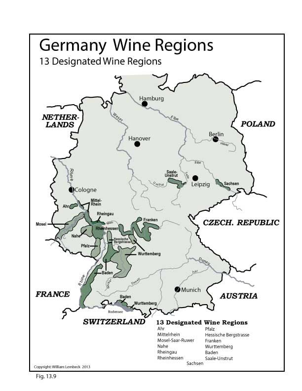 GERMANY: Wine Map and 13 Designated Wine Regions