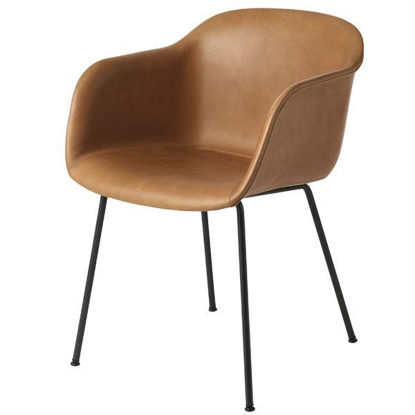 Fiber armchair, tube base, cognac leather/black