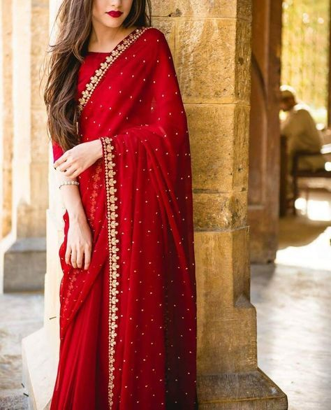 43bacb5ec2d82 Red Georgette Saree with banglori silk blouse Price Rs.1500 ...
