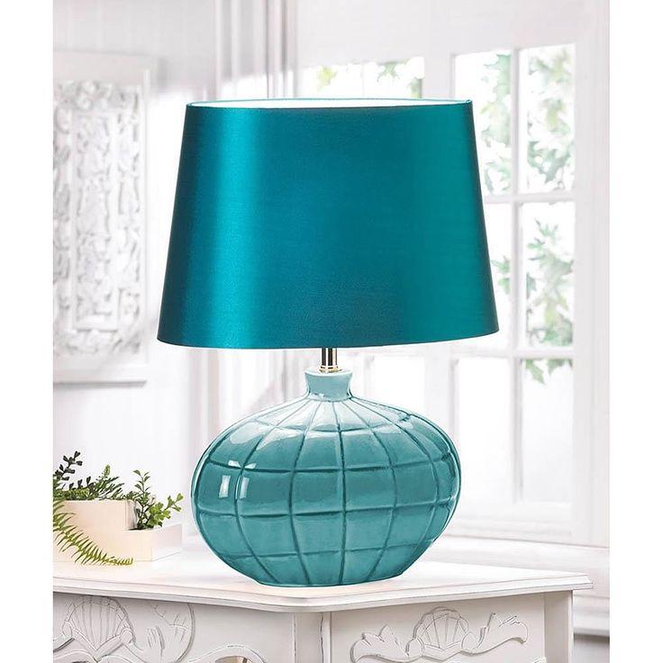 Square-Designed Teal Table Lamp (Square-Designed Teal Color Table Lamp), Blue (Ceramic)