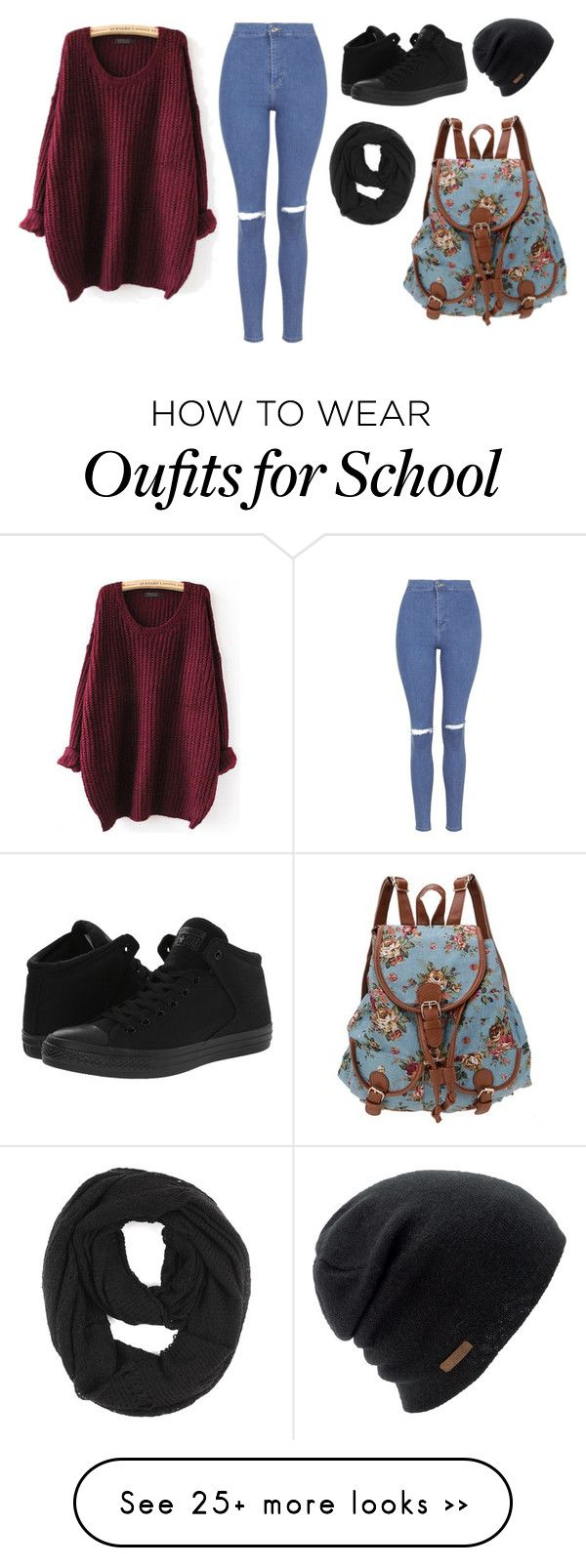 """""""Don't wanna go to school"""" by ashleyloves5sos on Polyvore featuring Topshop, Converse, Coal and Paula Bianco"""