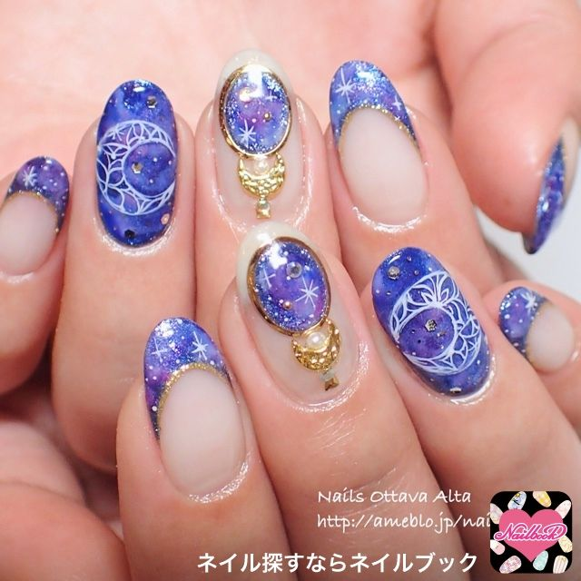 Nail image Ottavu~a Alta Azabujuban 1328918 Blue Galaxy brooch French party winter New Year softgel hand Medium
