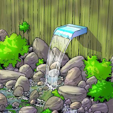 Ränna i rostfritt stål för trädgårdsvattenfall Ubbink 60 cm[3/4]