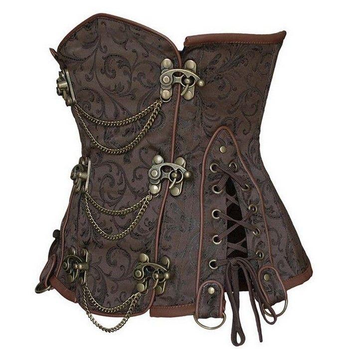 Serre taille steampunk marron avec chaines                                                                                                                                                      Plus
