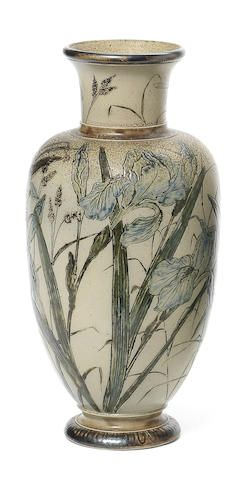 A Martin Brothers stoneware vase with Lilies Dated 1890 Finely incised with stems of pale blue lilies and lily of the valley; 27cm high, incised to base 'R.W Martin & Bro London & Southall' '4-1890'