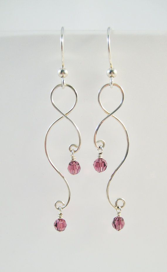 Silver Earrings and Necklace Set - Curving Wire and Crystals or Pearls