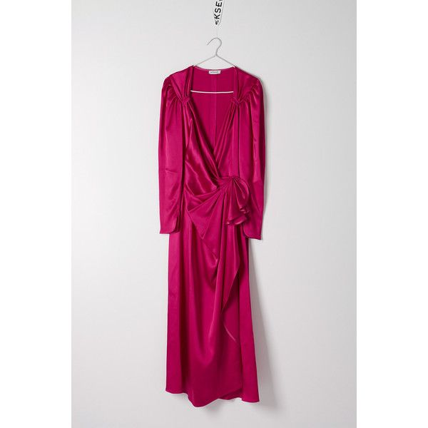 Attico Attico Sweetheart Neck Long Evening Dress ($979) ❤ liked on Polyvore featuring dresses, fuchsia, sweetheart dresses, ruching dress, fuschia dress, ruched cocktail dress and long wrap dress