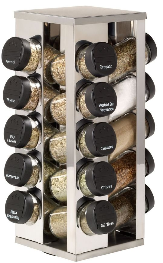 20 Jar Stainless Steel Rotating Spice Rack