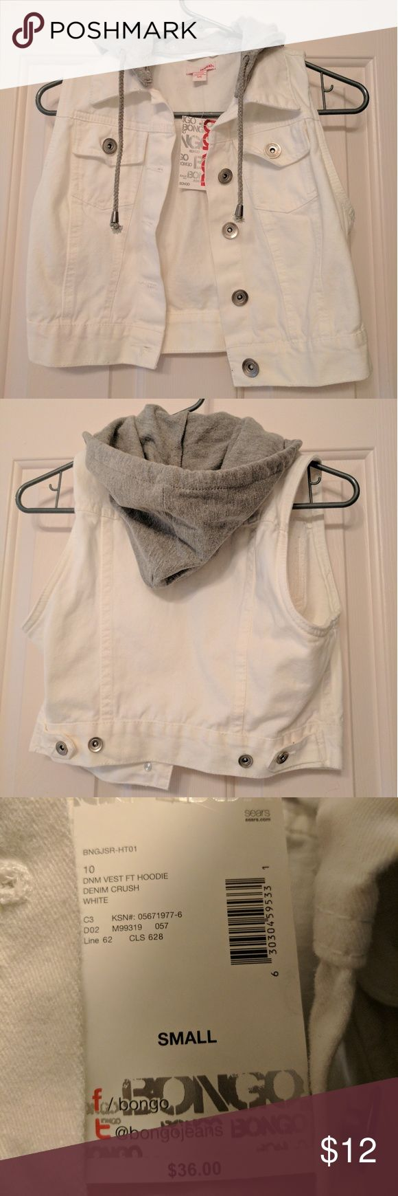 White Denim Vest with Removable Hood This white denim vest will go great over just about any tank or long sleeve. Can be worn without the hood which removes with buttons.  Brand new with tags. Size small. BONGO Tops Sweatshirts & Hoodies