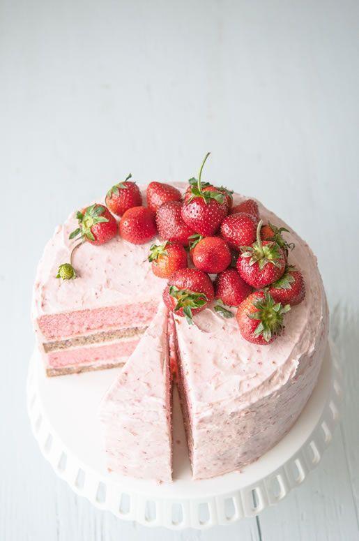 Strawberry Banana Milkshake cake by Hungry Rabbit.