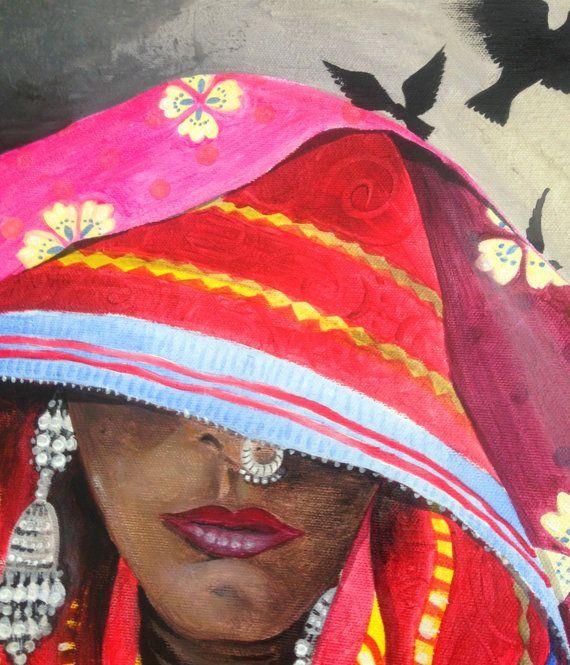 Retrato pintado de India con mujer por PaintingsByCipeciop en Etsy