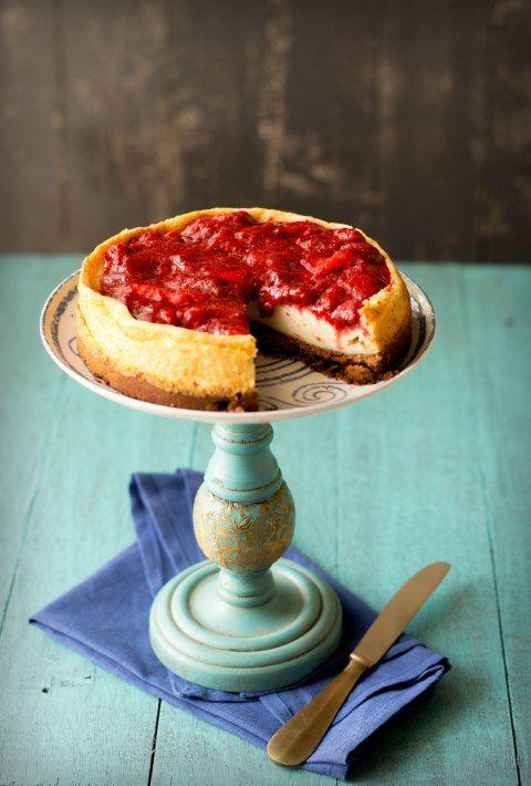 Vanilla Bean Quark Cheesecake With Balsamic RoastedStrawberries