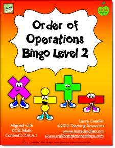 order of operations bingo pdf