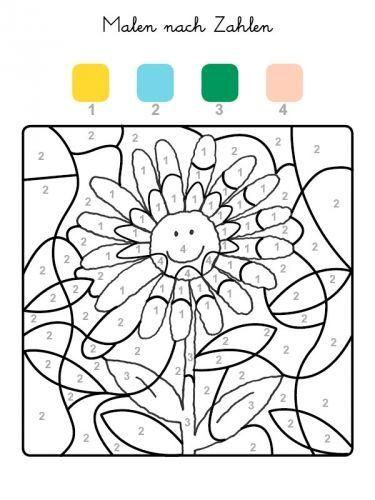 malen nach zahlen sonnenblume ausmalen zum ausmalen