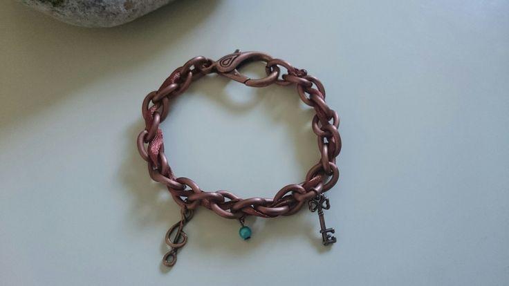 Bracelet Chaîne et Ruban - Breloques Clé, Clé de Sol, Perle - Cuivré, Brun, Bleu Turquoise : Bracelet par ancolie
