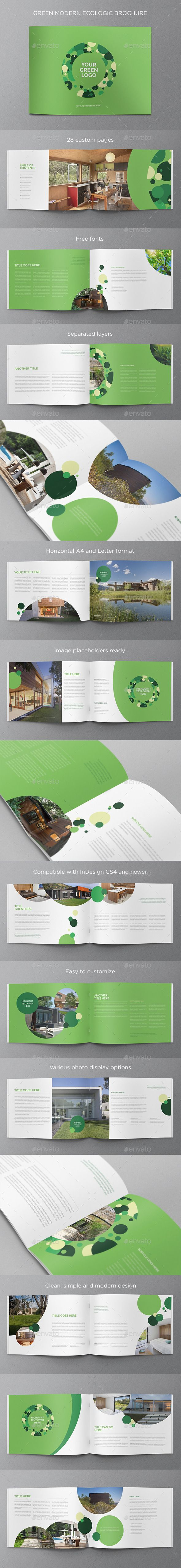 Green Modern Ecologic Brochure Template #design #print Download: http://graphicriver.net/item/green-modern-ecologic-brochure/11932612?ref=ksioks