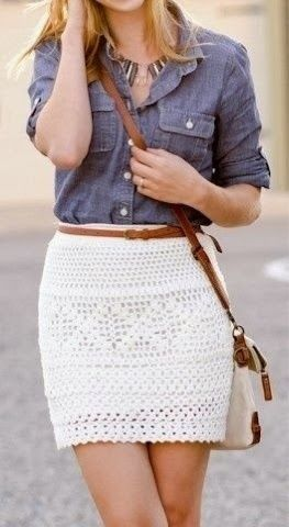 Love this mix of boho and classic with a crochet mini and chambray.
