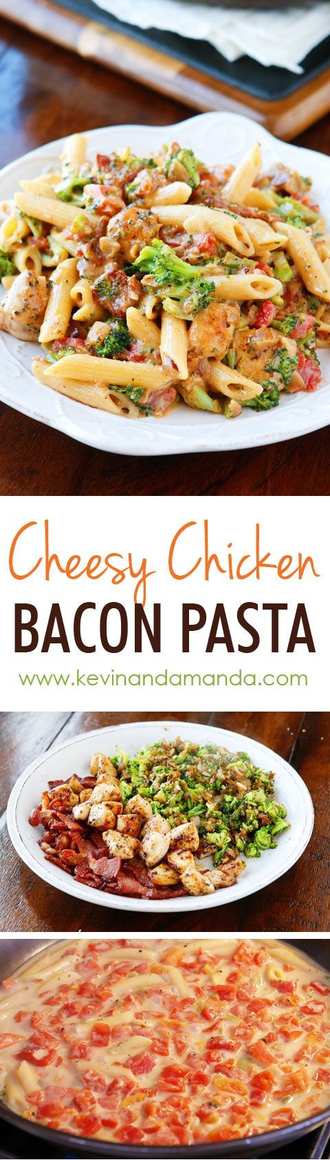 This is like an ultra creamy, cheesy broccoli soup with bacon, chicken, and pasta!! Seriously what on earth could be better? Cheesy. Bacon. Pasta.