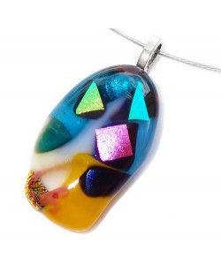Kleurrijke ovale hanger van diverse soorten dichroide glas!