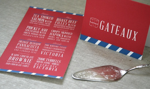 French themed modern menu  www.papyrusdesign.com