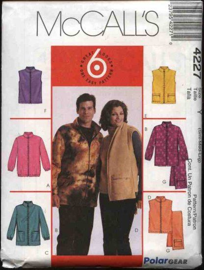 ed1912c2658f3 McCall s Sewing Pattern 4227 Misses Mens Unisex Chest Sizes 34-44