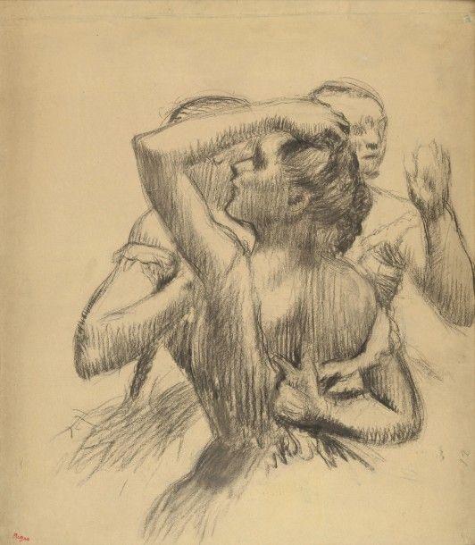 Edgar Degas (1834-1917), Trois Danseuses en buste, vers 1898, dessin au fusain sur calque doubl&, 65 x 56 cm. Adjugé : 462 500 € Dimanche 10 juillet, Fontainebleau. Osenat OVV. MM. Maket.