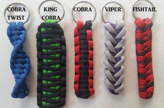 Customizable Paracord Key Chains. Created with 550 American Made Paracord. Our standard Key Chain Size is 5 inches. WEAVE/KNOT GUIDE: there are 5 to choose from. Cobra, King Cobra, Twist Cobra, Viper, and Fishtail. They are labled in the picture. COLOR GUIDE: If you wish to have 2 colors, select Dual Colors on color tab, and message us the colors you want, and how you want the colors(inside or outside of Weave/Knot). More colors to be added soon. *Colors are pictured above *if we do not h...