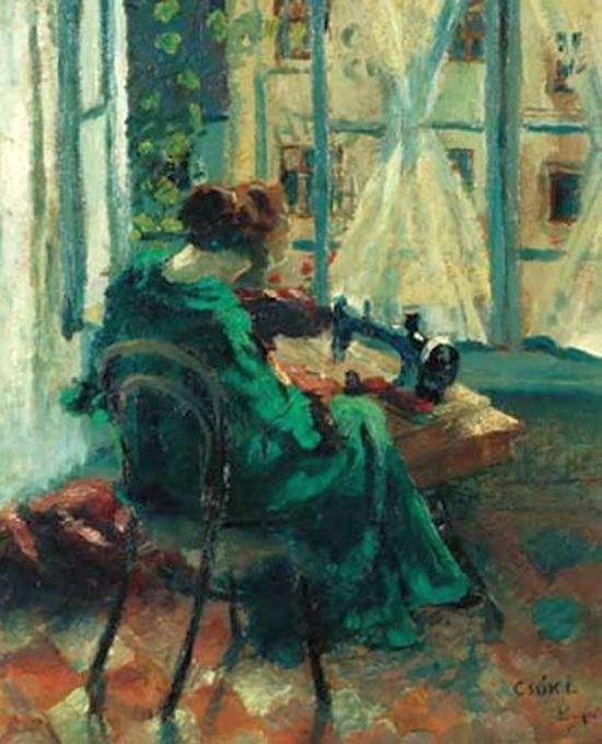 Csók, István (1865-1961) Woman doing needlework