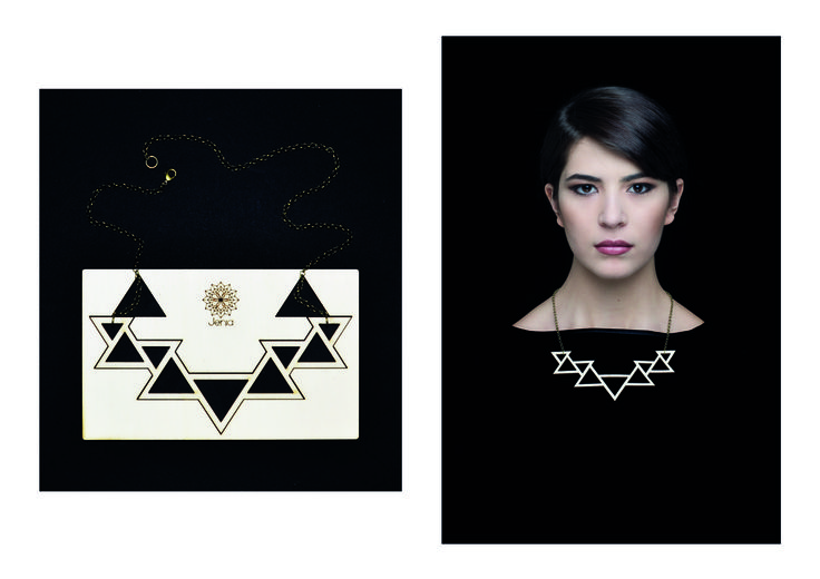 Geometries is a collection of lasercut and hand finished wood jewels. The innovative approach to the contemporary jewelry design and the decision to keep the raw material as packaging shows the machining process.