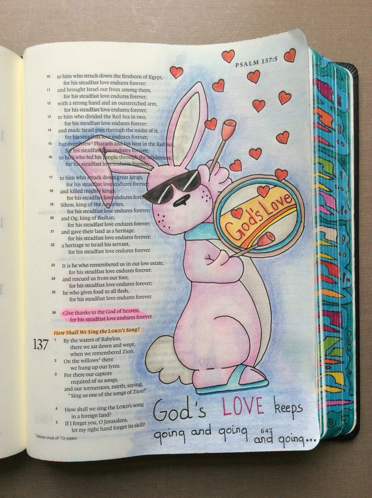 Psalm 136:26. ESV Journaling Bible, Micron pens and Polychromos pencils. @Briah Bat Aryeh.