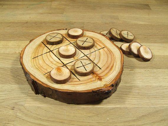 Madera rústica natural de la Tic Tac Toe o por NaturalOrganicCrafts