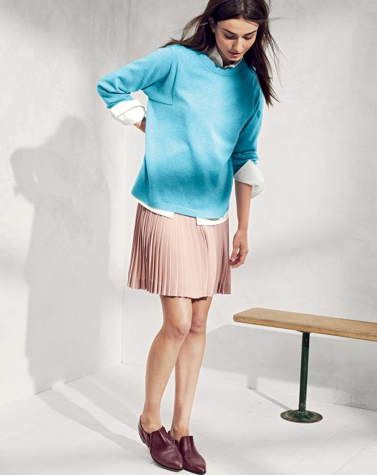 J.Crew women's Collection seamed cashmere sweater, Thomas Mason® for J.Crew Boy shirt, and pleated lattice skirt.