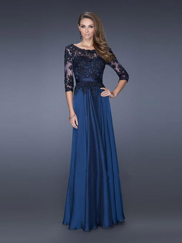 A-line/Princess Scoop Floor-length Chiffon Lace Dress