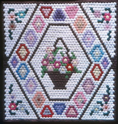 hexagon quilt patterns | Hexagon Flower Basket Medallion Quiltmaker: Blakney, Bernice
